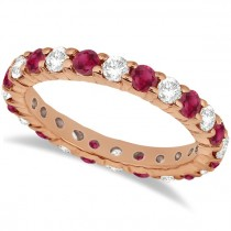 Eternity Diamond & Garnet Ring Band 14k Rose Gold (2.35ct)
