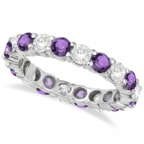 Eternity Diamond & Amethyst Anniversary Ring Band 14k White Gold (3.50ct)