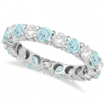 Eternity Diamond & Aquamarine Anniersary Band 14k White Gold (3.50ct)