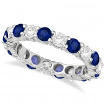 Eternity Diamond & Blue Sapphire Ring Band 14k White Gold (3.50ct)