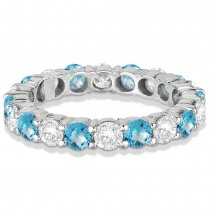 Eternity Diamond & Blue Topaz Anniversary Band 14k White Gold (3.50ct)|escape