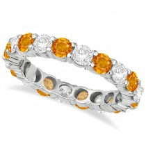 Eternity Diamond & Citrine Ring Anniversary Band 14k White Gold (3.50ct)