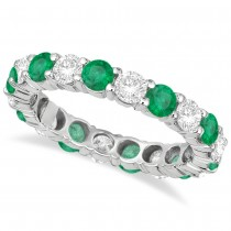 Eternity Diamond & Emerald Ring Anniversary Band 14k White Gold (3.50ct)