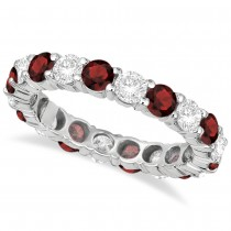 Eternity Diamond & Garnet Anniversary Ring Band 14k White Gold (3.50ct)