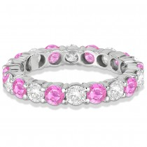 Eternity Diamond & Pink Sapphire Ring Band 14k White Gold (3.50ct)