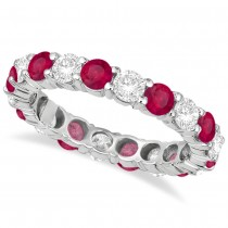 Eternity Diamond & Ruby Anniversary Ring Band 14k White Gold (3.50ct)