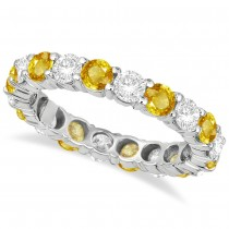 Eternity Diamond & Yellow Sapphire Ring Band 14k White Gold (3.50ct)