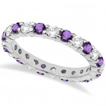 Eternity Diamond & Amethyst Ring Band 14k White Gold (2.40ct)