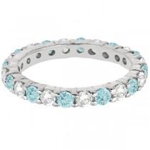 Eternity Diamond & Aquamarine Ring Band 14k White Gold (2.40ct)