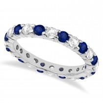 Eternity Blue & White Diamond Ring Band 14k White Gold (2.50ct)