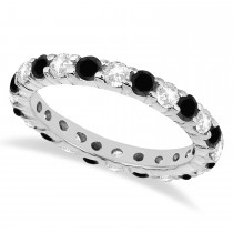 Eternity Black & White Diamond Ring Band 14k White Gold (2.50ct)