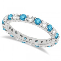 Fancy Blue & White Diamond Eternity Ring Band 14k White Gold (2.00ct)
