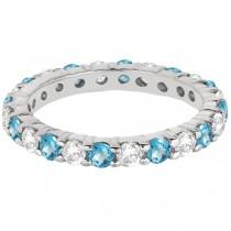 Eternity Diamond & Blue Topaz Ring Band 14k White Gold (2.40ct)