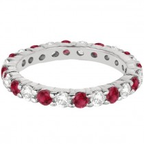 Eternity Diamond & Garnet Ring Band 14k White Gold (2.35ct)
