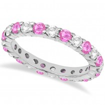 Eternity Diamond & Pink Sapphire Ring Band 14k White Gold (2.35ct)