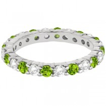 Eternity Diamond & Peridot Ring Band 14k White Gold (2.40ct)