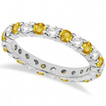 Eternity Diamond & Yellow Sapphire Ring Band 14k White Gold (2.35ct)