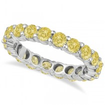 Fancy Canary Yellow Diamond Eternity Ring Band 18k White Gold (3.00ct)