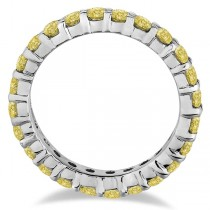 Fancy Yellow Canary Diamond Eternity Ring Band 14k White Gold (2.00ct)