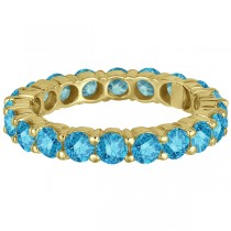 Fancy Blue Diamond Eternity Ring Band 18k Yellow Gold (3.00ct)