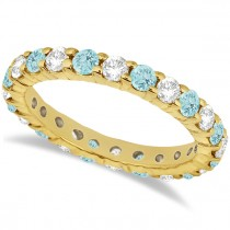Eternity Diamond & Aquamarine Ring Band 14k Yellow Gold (2.40ct)