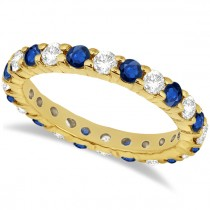 Eternity Diamond & Blue Sapphire Ring Band 14k Yellow Gold (2.35ct)