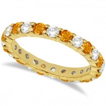 Eternity Diamond & Citrine Ring Band 14k Yellow Gold (2.40ct)