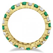 Eternity Diamond & Emerald Ring Band 14k Yellow Gold (2.35ct)