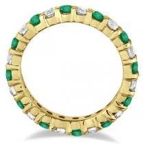 Eternity Diamond & Emerald Ring Band 14k Yellow Gold (2.35ct)