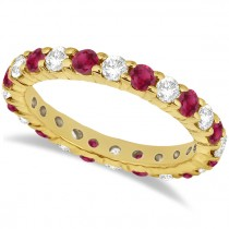 Eternity Diamond & Garnet Ring Band 14k Yellow Gold (2.35ct)