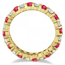 Eternity Diamond & Garnet Ring Band 14k Yellow Gold (2.35ct)