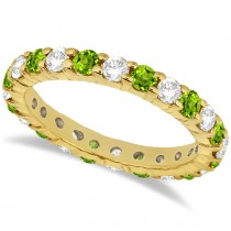 Eternity Diamond & Peridot Ring Band 14k Yellow Gold (2.40ct)