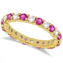Eternity Diamond & Pink Sapphire Ring Band 14k Yellow Gold (2.35ct)