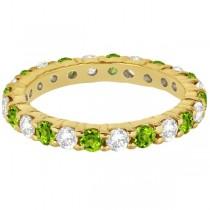 Eternity Diamond & Peridot Ring Band 14k Yellow Gold (2.40ct)