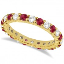 Eternity Diamond & Ruby Ring Band 14k Yellow Gold (2.35ct)