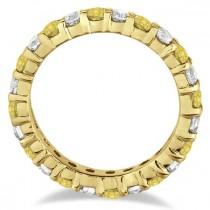 Canary Yellow & White Diamond Eternity Ring 14k Yellow Gold (2.00ct)