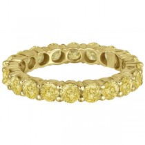 Fancy Canary Yellow Diamond Eternity Ring Band 18k Yellow Gold (3.00ct)|escape