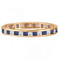 Princess-Cut Sapphire & Diamond Eternity Ring 14k Rose Gold (1.26ct)