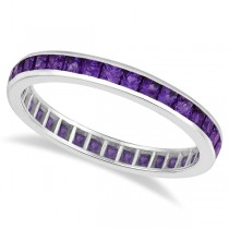 Princess-Cut Amethyst Eternity Ring Band 14k White Gold (1.36ct)