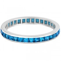 Princess-Cut Blue Topaz Eternity Ring Band 14k White Gold (1.36ct)