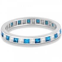 Princess-Cut Blue Topaz & Diamond Eternity Ring 14k White Gold (1.26ct)