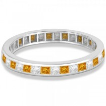 Princess-Cut Citrine & Diamond Eternity Ring 14k White Gold (1.26ct)