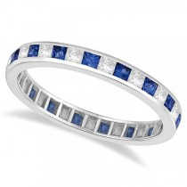 Princess-Cut Sapphire & Diamond Eternity Ring 14k White Gold (1.26ct)