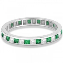 Princess-Cut Emerald & Diamond Eternity Ring 14k White Gold (1.26ct)