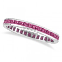 Princess-Cut Pink Sapphire Eternity Ring Band 14k White Gold (1.36ct)