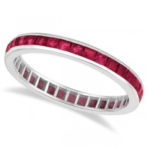 Princess-Cut Ruby Eternity Ring Band 14k White Gold (1.20ct)