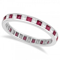 Princess-Cut Ruby & Diamond Eternity Ring 14k White Gold (1.26ct)