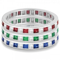 Princess-Cut Ruby & Diamond Eternity Ring 14k White Gold (1.26ct)