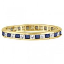 Princess-Cut Sapphire & Diamond Eternity Ring 14k Yellow Gold (1.26ct)