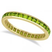 Princess-Cut Peridot Eternity Ring Band 14k Yellow Gold (1.36ct)